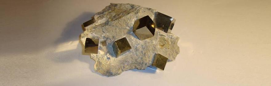 Natural Iron Pyrites in Matrix