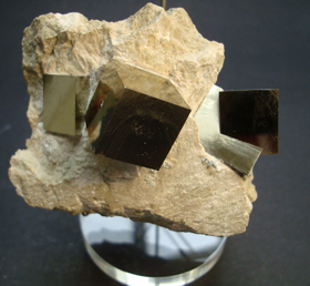 Natural Iron Pyrite in Matrix