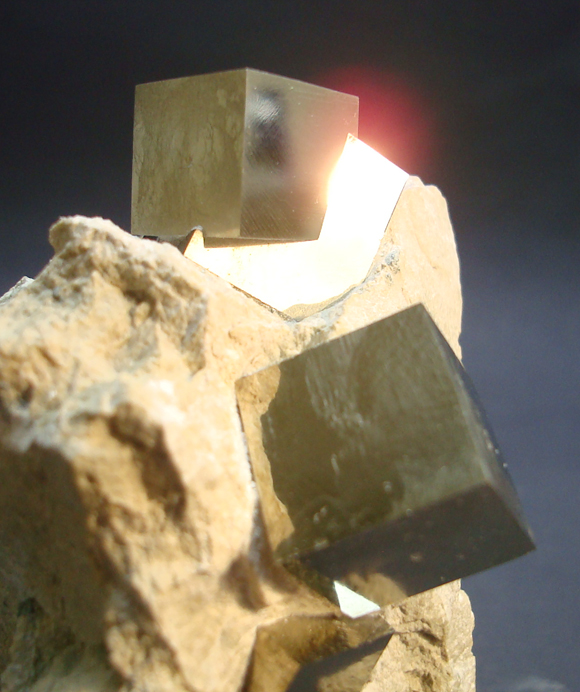 Iron Pyrite Cubes in Matrix