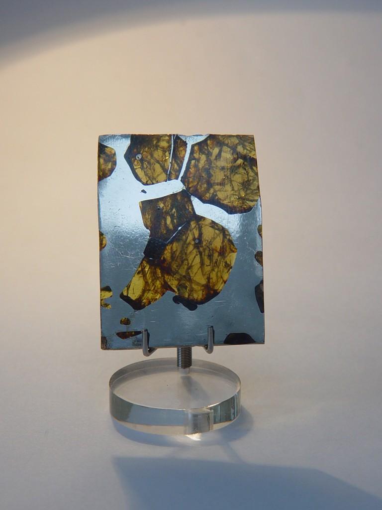 Stony Iron Pallasite Meteorite Slice