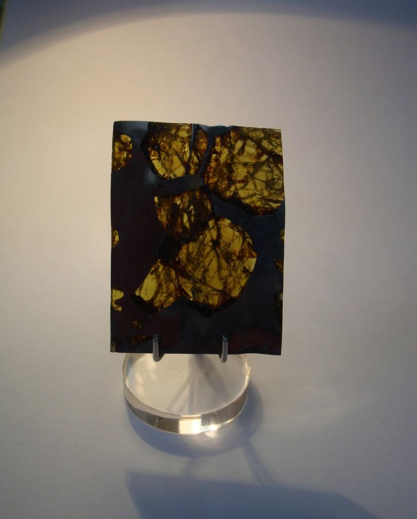 Olivine in Pallasite Meteorite Slice