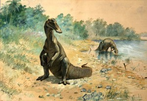 """Hadrosaurs by a Lake"" Charles R Knight 1897"