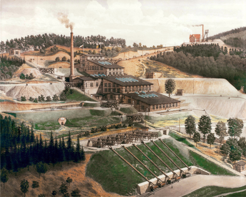 Zinc (Sphalerite) mine and processing plant at Lüderich 1897 watercolour by Wilhelm Scheiner