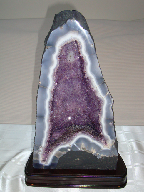 Amethyst Geode with Agate Mounted