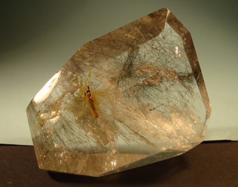 Rock Crystal (A) with inclusions including Tourmaline rods