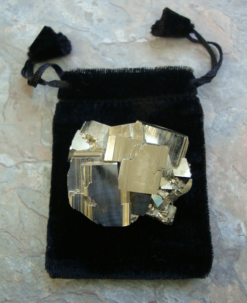 Natural Iron Pyrite Cluter in Pouch