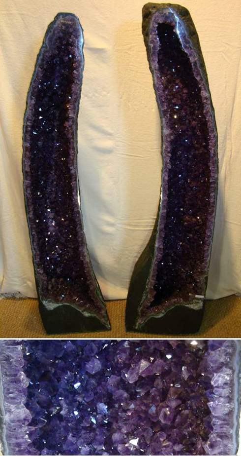 Stock 0135 amethyst cathedral geode pair for sale for Large rocks for sale near me